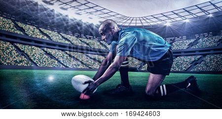 Rugby player keeping ball on kicking tee against rugby stadium with copy space 3d