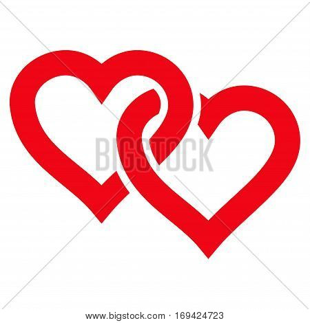Linked Hearts flat icon. Vector red symbol. Pictogram is isolated on a white background. Trendy flat style illustration for web site design logo ads apps user interface.