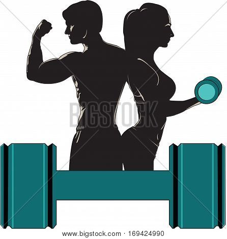 Man and woman fit. Homem e mulher fitness.