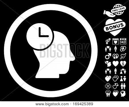 Time Thinking pictograph with bonus decorative design elements. Vector illustration style is flat rounded iconic white symbols on black background.
