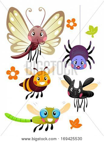 Mascot Illustration Featuring Cute and Colorful Bugs from Different Species
