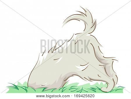 Animal Illustration of a Curious Dog Playfully Digging Something from the Ground