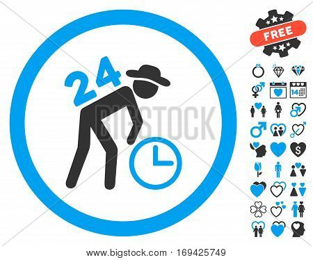 Around The Clock Work pictograph with bonus romantic clip art. Vector illustration style is flat rounded iconic blue and gray symbols on white background.