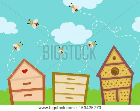Colorful Illustration Featuring Honeybees Fluttering Around Homemade Bug Hotels