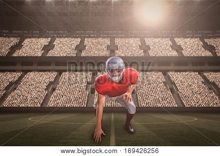 American football player taking position while playing against football stadium with fans in white with copy space 3d
