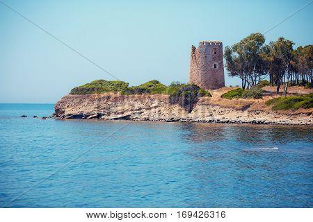 Coastal Tower in Porto Giunco near Villasimius, Sardinia, Italy
