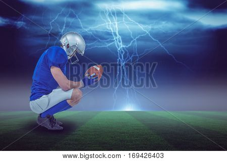Profile view of American football player in attack stance against stormy dark sky with lightning bolts with copy space 3d
