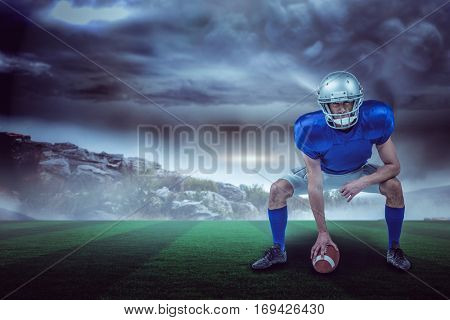 American football player placing ball against stormy sky with tornado over landscape with copy space 3d