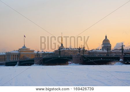 Russia. Saint Petersburg. Winter. the Admiralty and St. Isaac's Cathedral