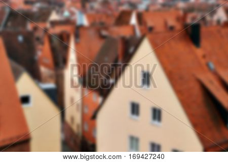 Traditional house in the German style in Bavaria, Europe. Blurred background.