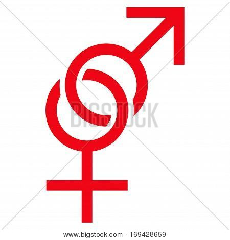 Sex Symbol flat icon. Vector red symbol. Pictogram is isolated on a white background. Trendy flat style illustration for web site design logo ads apps user interface.