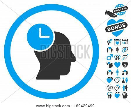 Time Thinking icon with bonus love pictograms. Vector illustration style is flat rounded iconic blue and gray symbols on white background.