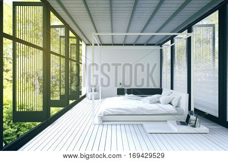 3d Rendering : illustration of Double divan bed in a light spacious upmarket modern bedroom with large windows in white decor. loft bedroom in a wild. resort or home interior