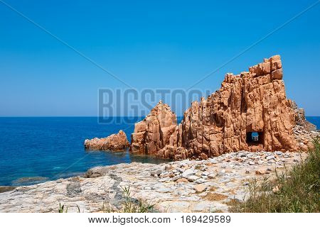 Red rocks and turquoise water of Arbatax, Sardinia, Italy