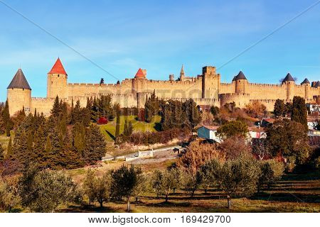 a view of the walls and towers of the Cite de Carcassonne, in Carcassone, France