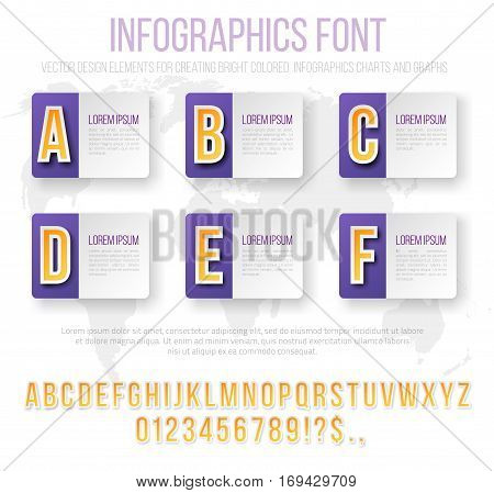 Bright Infographics Vector Violet Colored Numbers and Letters Set for Options and Feautures List. Template for brochure, business charts, web design and posters