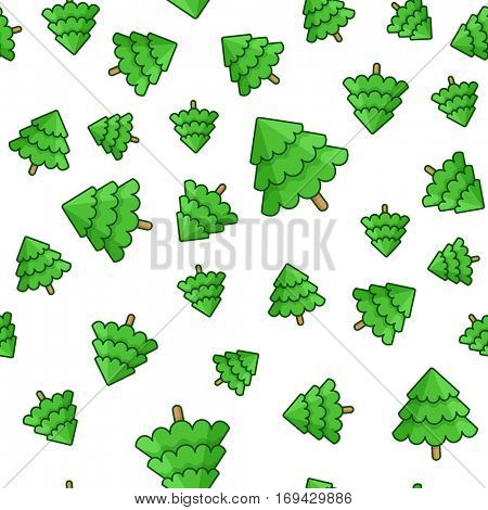 Christmas seamless vector background. Package template pattern with Christmas tree. Vector illustration