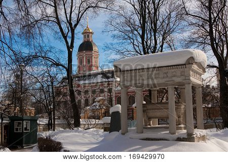 Alexander Nevsky Lavra ancient monastery in Baroque style in center of St. Petersburg Russia