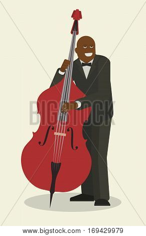 Jazzman and contrabass, isolated flat object, vector illustration