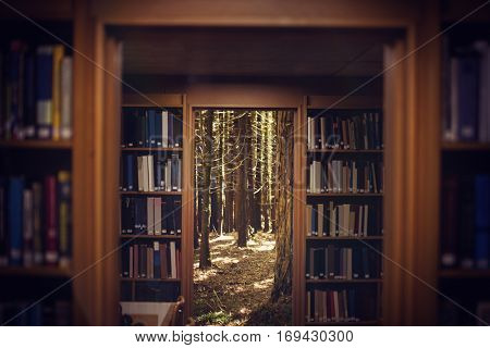 Close up of a bookshelf against trees in a woods 3d