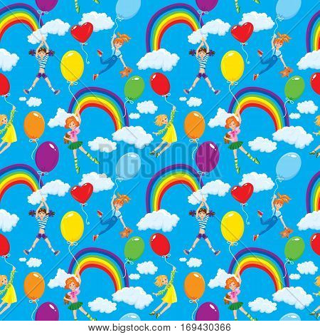 Seamless pattern with rainbows clouds colorful balloons and cute girls with teddy bears on sky blue background.