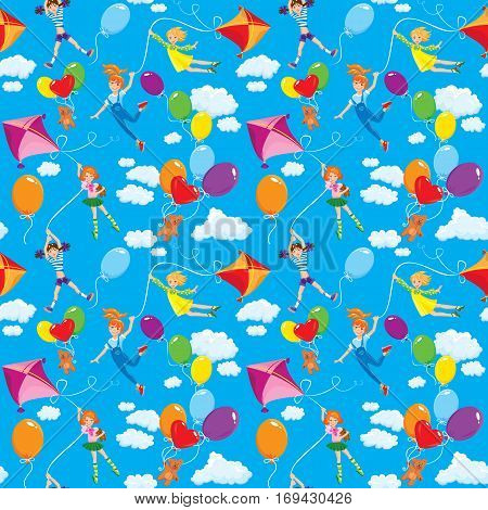Seamless pattern with clouds colorful balloons kite and cute girls with teddy bears on sky blue background.