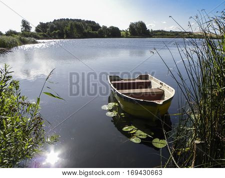 Small wooden rowing boat on pond between reeds and surrounded by waterlily leaves in sunshine reflecting on the water