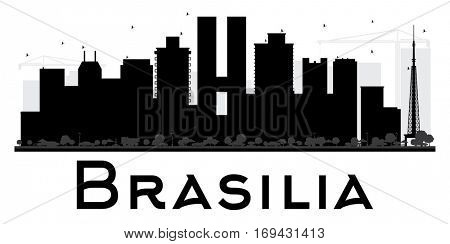 Brasilia City skyline black and white silhouette. Simple flat concept for tourism presentation, banner, placard or web site. Business travel concept. Cityscape with landmarks