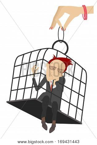 Man in the cage. Hand of the woman holds a cage with the sad man in