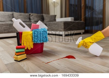 Cleaning service. Bucket with sponges, chemicals bottles and plunger. Hand in rubber glove holding a spray. Paper towel. Red splash spot.