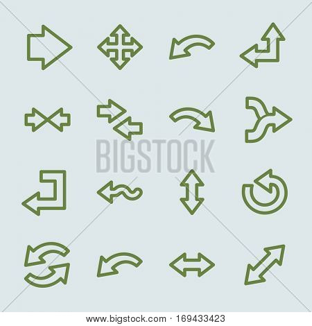 Arrows web icons.  Forward and go, exchange and recycling symbol, vector signs