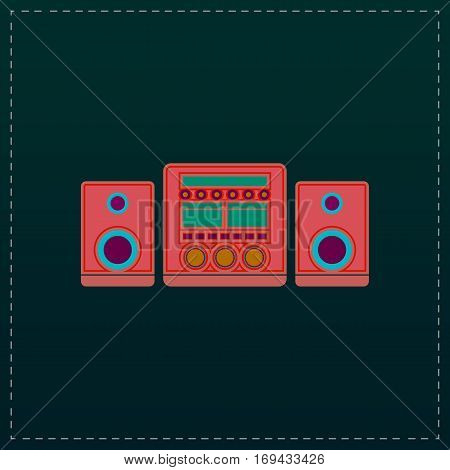 Stereo system. Color symbol icon on black background. Vector illustration