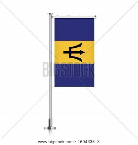 Barbados vector banner flag hanging on a silver metallic pole. Vertical Barbados flag template isolated on a white background.