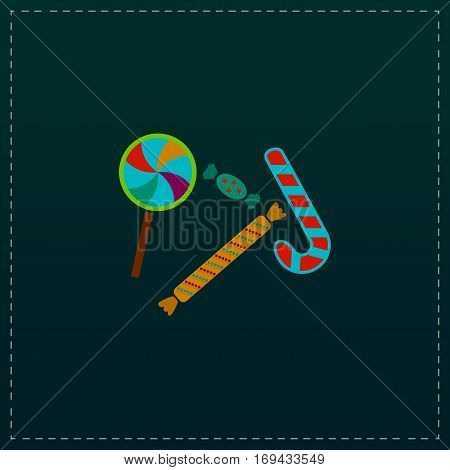 Sweets and candies. Color symbol icon on black background. Vector illustration