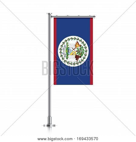Belize vector banner flag hanging on a silver metallic pole. Vertical Belize flag template isolated on a white background.