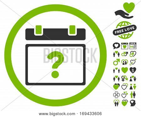 Unknown Date pictograph with bonus valentine clip art. Vector illustration style is flat rounded iconic eco green and gray symbols on white background.