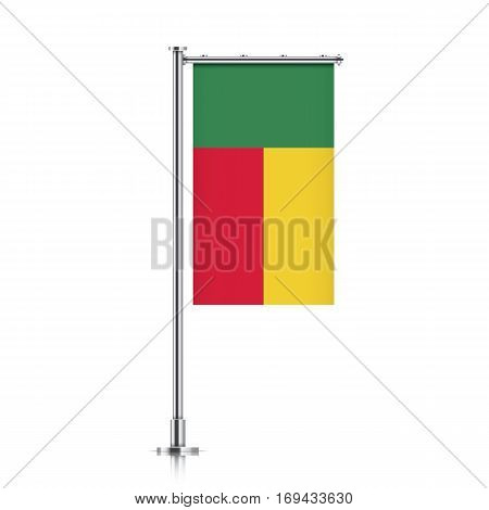 Benin vector banner flag hanging on a silver metallic pole. Vertical Benin flag template isolated on a white background.
