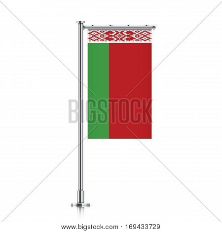 Belarus vector banner flag hanging on a silver metallic pole. Vertical Belarus flag template isolated on a white background.