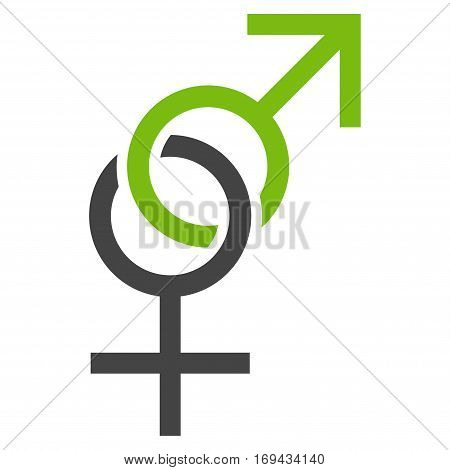 Sex Symbol flat icon. Vector bicolor light green and gray symbol. Pictogram is isolated on a white background. Trendy flat style illustration for web site design logo ads apps user interface.