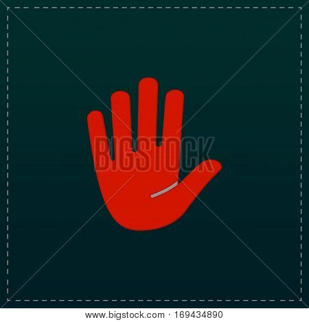 Stop - hand. Color symbol icon on black background. Vector illustration