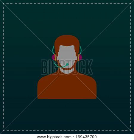 Call center operator with headset. Color symbol icon on black background. Vector illustration