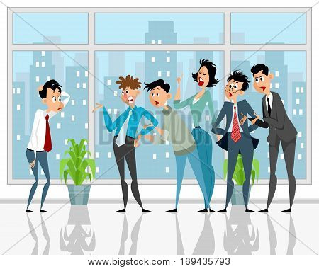 Vector illustration of a colleagues convince subordinate