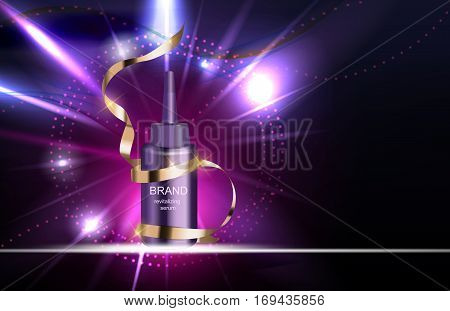 Revitalizing Serum for Hair Bottle Template for Ads or Magazine Background. 3D Realistic Vector Iillustration. EPS10