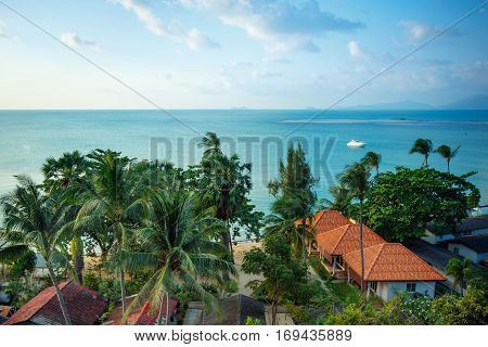 Bird eye view of seascape on Mae Nam coastline, Koh Samui, Suratthani, Thailand
