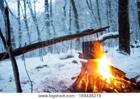 In The Winter Forest On Fire Boiled Water In A Pot