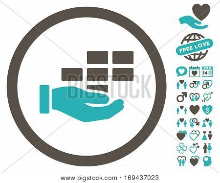 Service Schedule pictograph with bonus dating pictograph collection. Vector illustration style is flat rounded iconic grey and cyan symbols on white background.