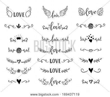 Handdrawn Borders Set With Hearts, Crown, Wings For Valentines Day And Wedding Greeting Cards, Poste