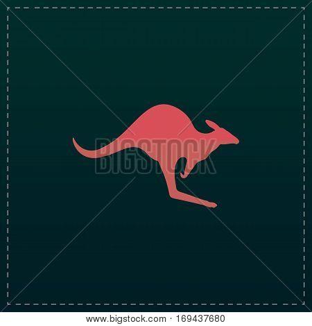 Kangaroo. Color symbol icon on black background. Vector illustration