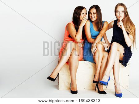 many girlfriends hugging celebration on white background, smiling talking chat, girl next door close up wondering sweety group, lifestyle real modern people