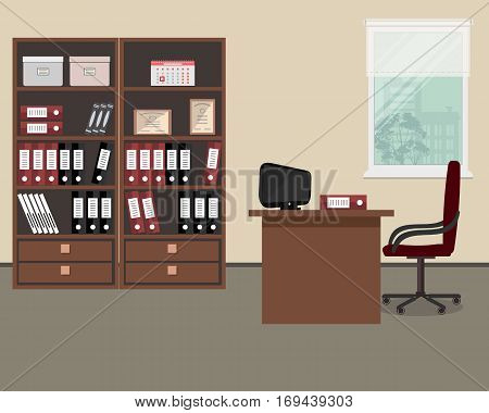Workplace of office worker. There is a table, a burgundy chair, two cabinets with folders and other objects in the picture. Vector flat illustration